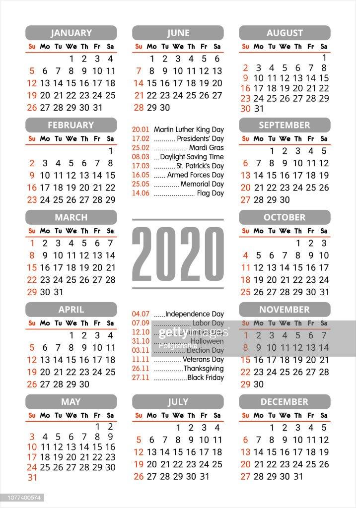 Presidents Day 2020 Calendar.2020 Calendar Starting Sunday Stock Illustration Getty Images