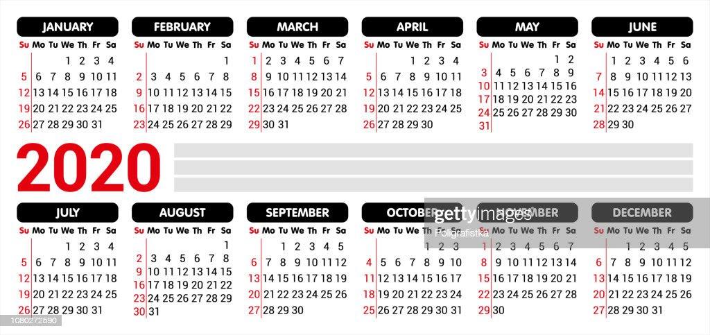 Vector De Calendario 2020.2020 Calendar Starting Sunday Vector Illustration Stock
