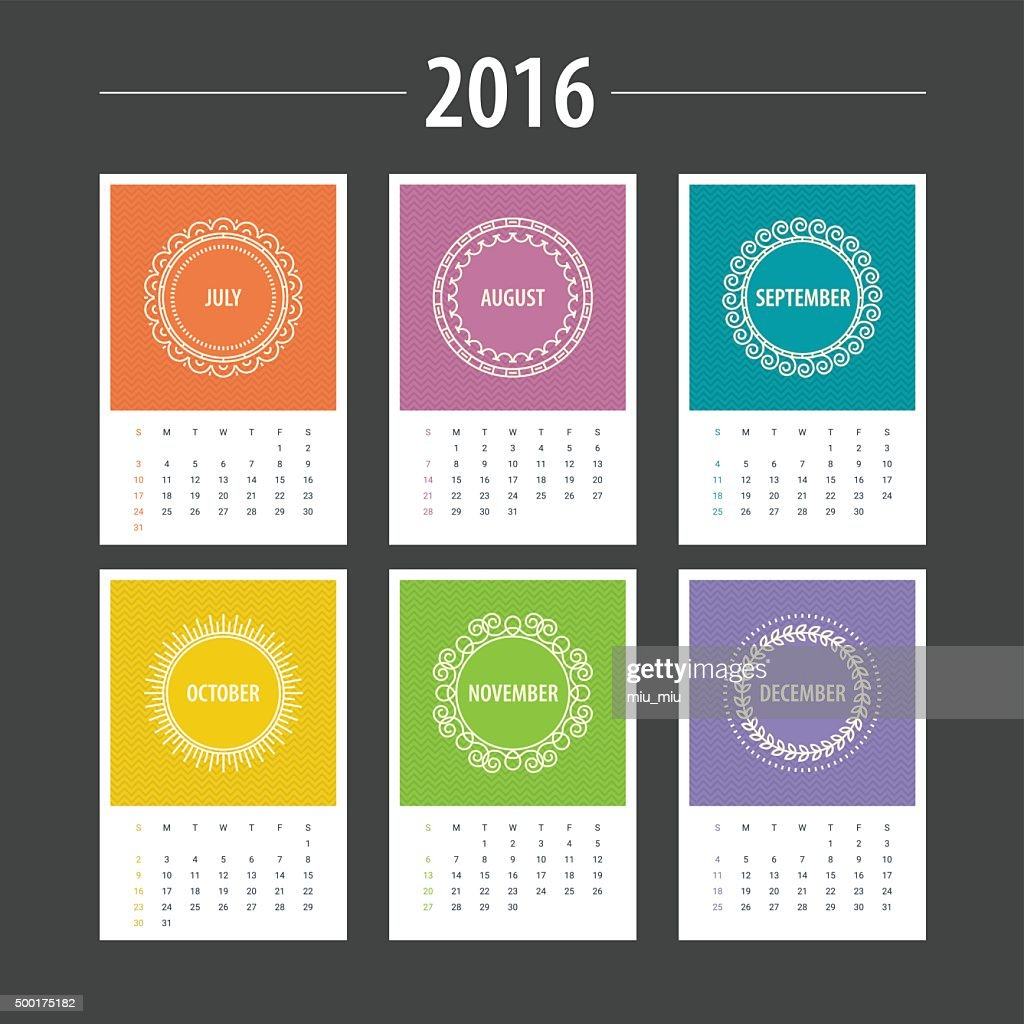 Calendar Template 2016. July, August, September, October, November, December