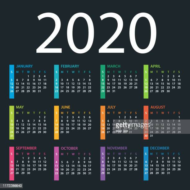 calendar template 2020 on dark background. days start from sunday - 2020 stock illustrations