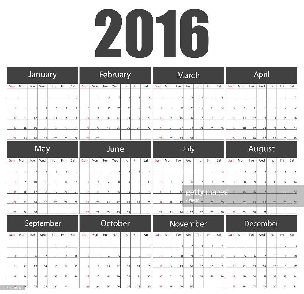 2016 calendar template brochure business design. Vector illustration.