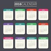 Calendar template for 2016
