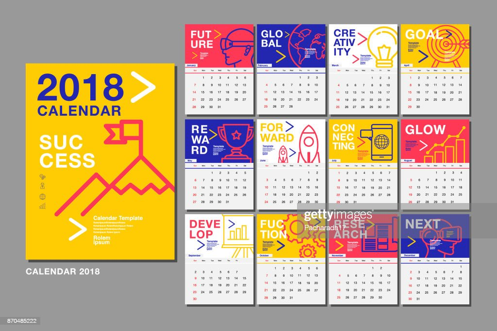 Calendar Template for 2018 Year. Vector Design Layout , Business Company.