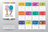 2017 calendar template with modern line graphic style