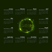 2019 Calendar Template.Starts Monday.Yearly calendar vector design stationery template.Happy New Year 2019 background.Abstract burning circles with glitter swirl trail calendar background.Vector illustration.