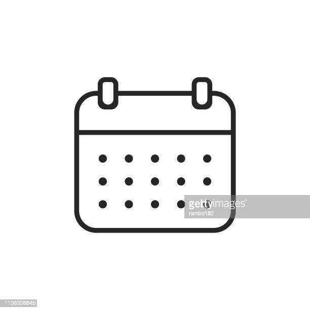 calendar, time line icon. editable stroke. pixel perfect. for mobile and web. - diary stock illustrations