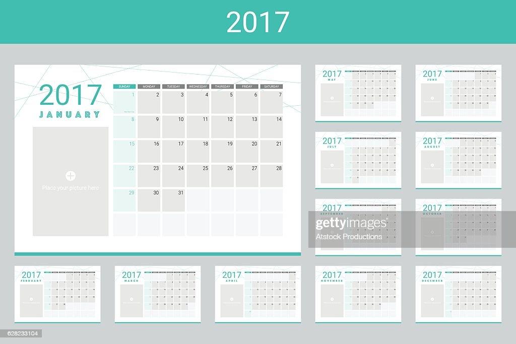 2017 calendar twelve month set