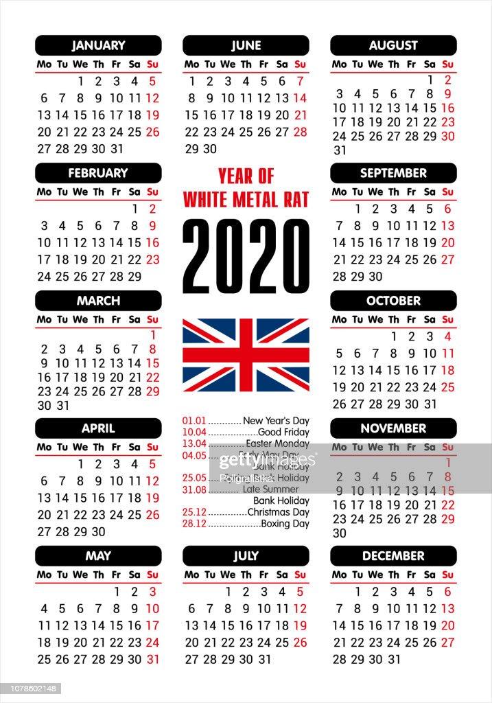 Easter 2020 Calendar.2020 Calendar Uk Flag And Holidays Starting Monday Vector