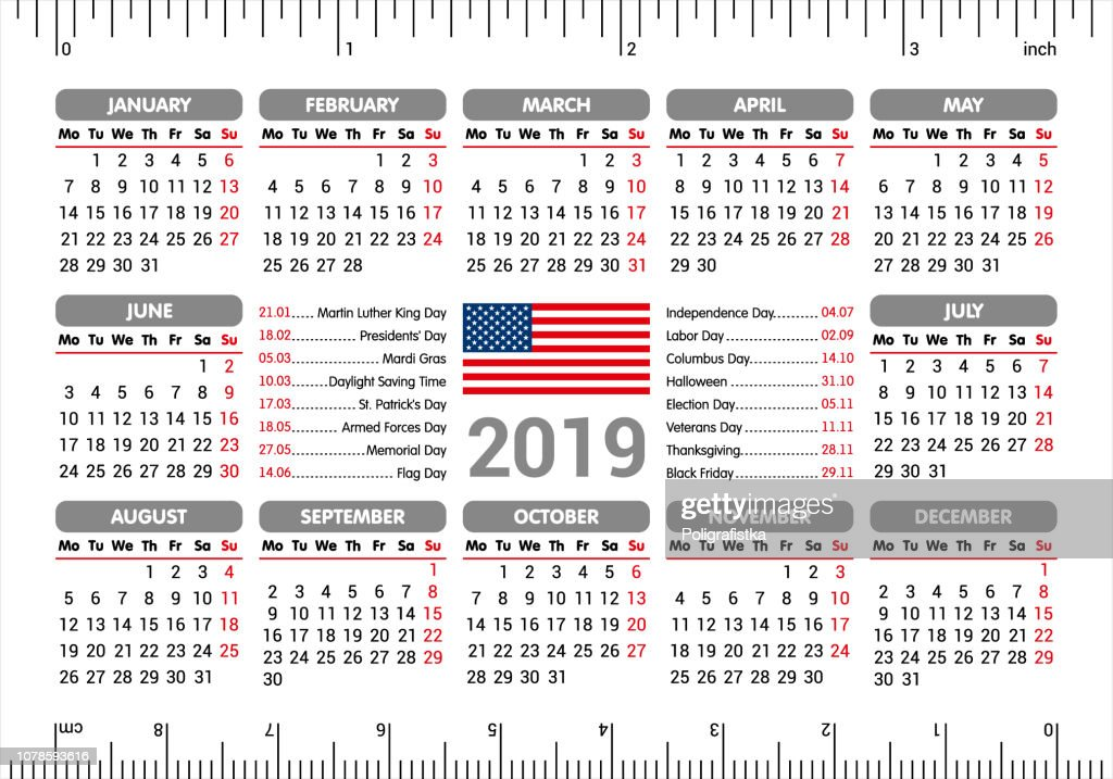 2019 Calendar Usa Flag And Holidays Ruler Starting Monday Vector