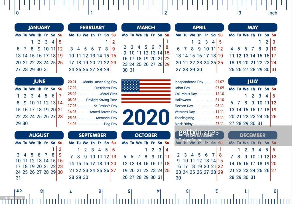 Presidents Day 2020 Calendar.2020 Calendar Usa Flag And Holidays Ruler Starting Monday Vector