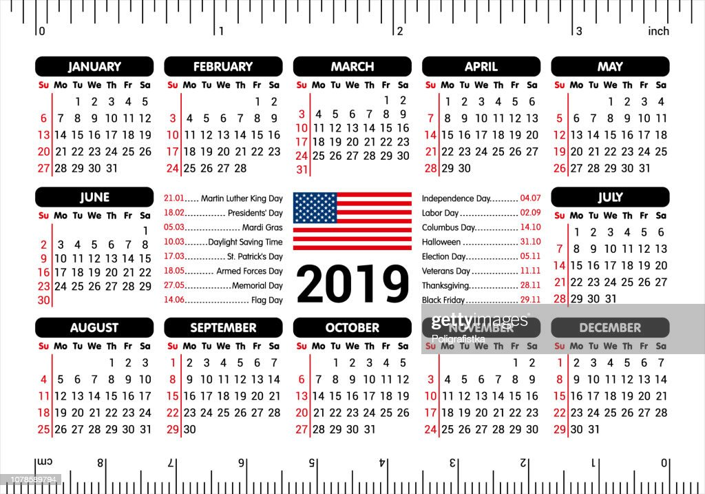 2019 Calendar Usa Flag And Holidays Ruler Starting Sunday Vector