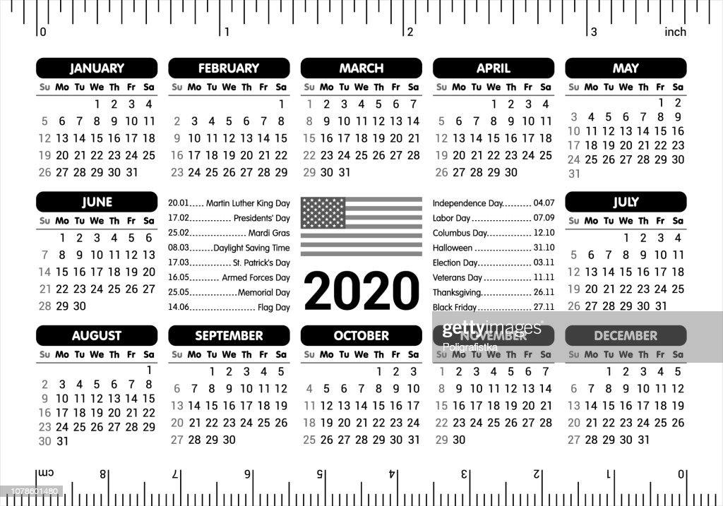 2020 Calendar - USA flag and holidays, ruler / starting Sunday / vector illustration : Ilustração de stock