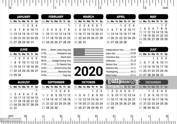 2020 calendar - usa flag and holidays, ruler / starting sunday / vector illustration - letrac stock illustrations