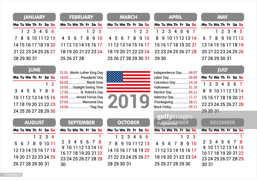 2019 Calendar Usa Flag And Holidays Starting Monday Vector