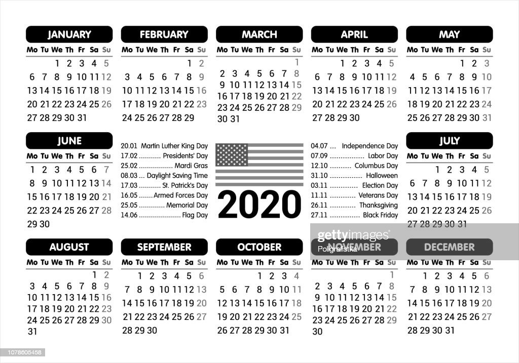 2020 Calendar Usa Flag And Holidays Starting Monday Vector