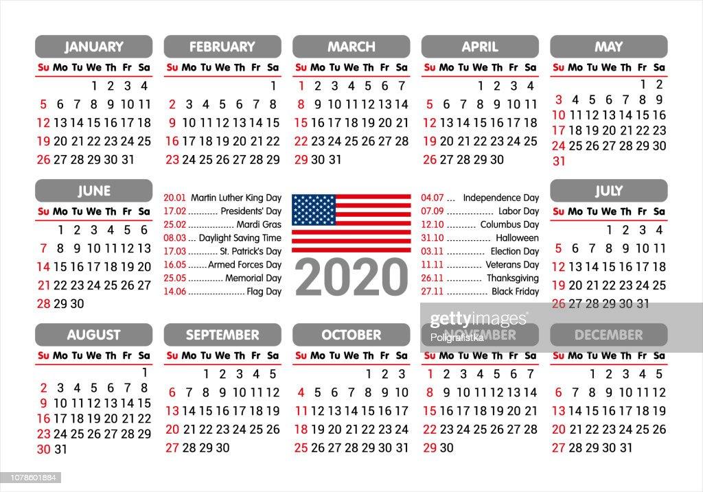 Presidents Day 2020 Calendar.2020 Calendar Usa Flag And Holidays Starting Sunday Vector