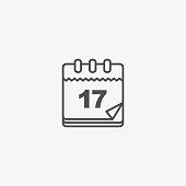 Calendar Vector Icon, Vintage Paper Date Calendar. Vector Pictogram Personal Organizer.