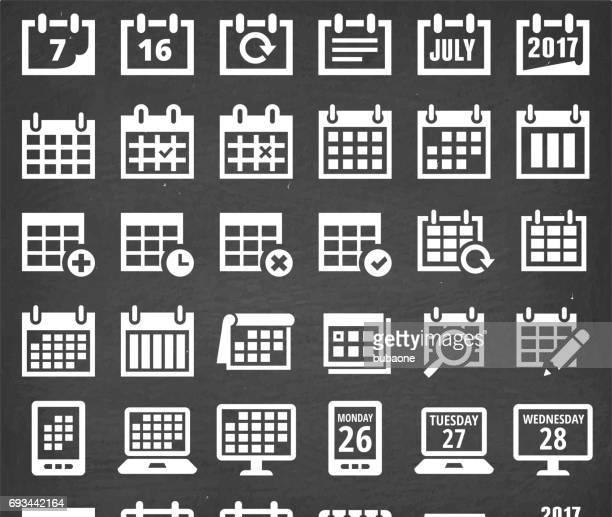 Calendar Vector Icons on Black Chalkboard