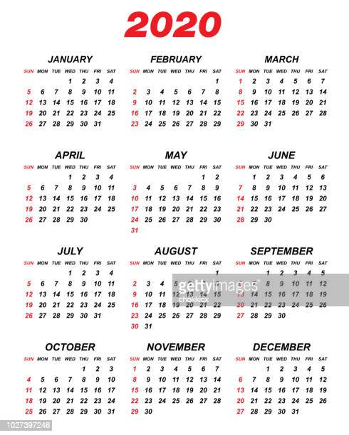 Calendario 2020 Vector Gratis.2020 Premium Stock Illustrations Getty Images