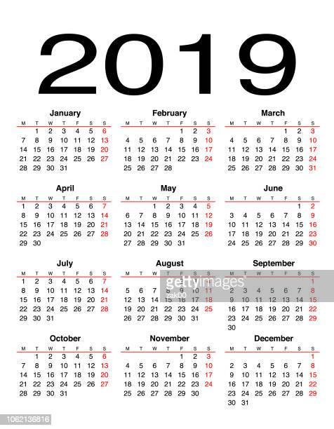 2019 calendar - 2019 calendar background stock illustrations