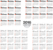 2016 Calendar. Vector Illustration