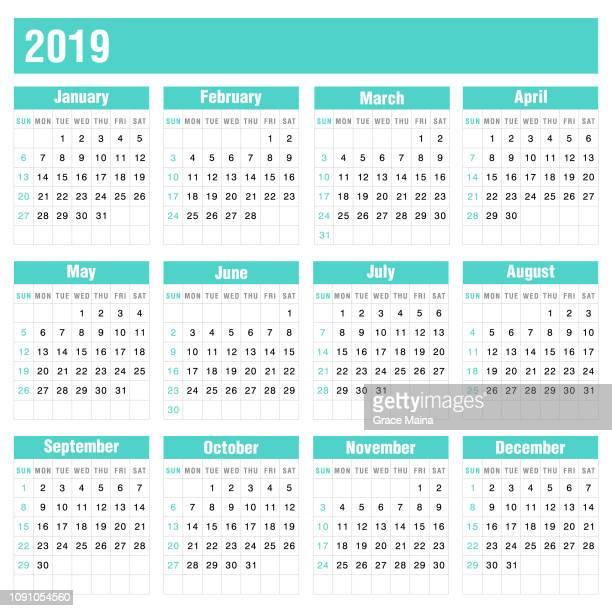 2019 calendar - vector - 2019 stock illustrations