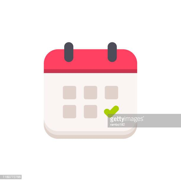 calendar with checkmark flat icon. pixel perfect. for mobile and web. - diary stock illustrations