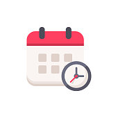 Calendar with Clock Flat Icon. Pixel Perfect. For Mobile and Web.