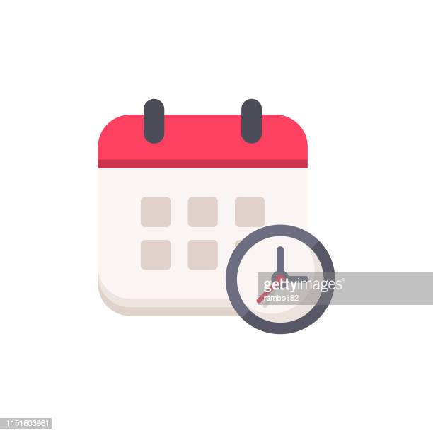 calendar with clock flat icon. pixel perfect. for mobile and web. - time stock illustrations