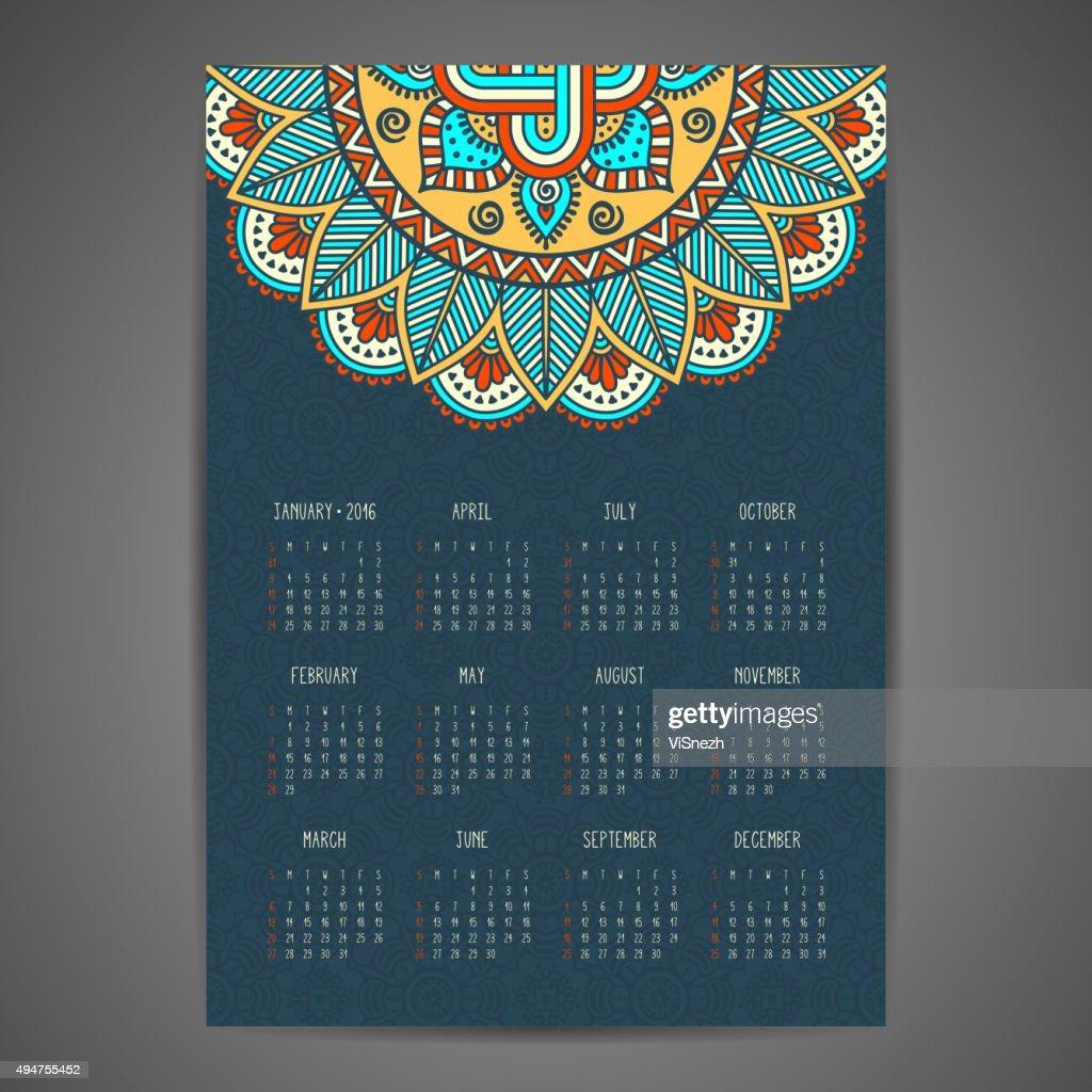 Calendar with mandalas