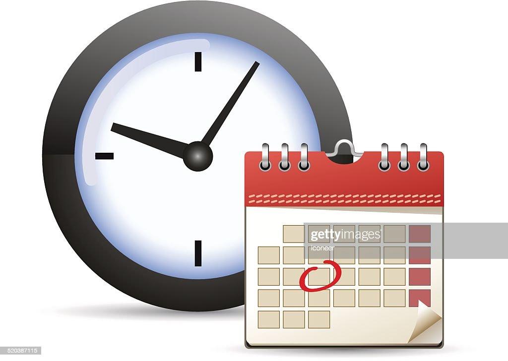 Calendario Icona.Calendario Con Un Giorno Contrassegnate E Icona Clock