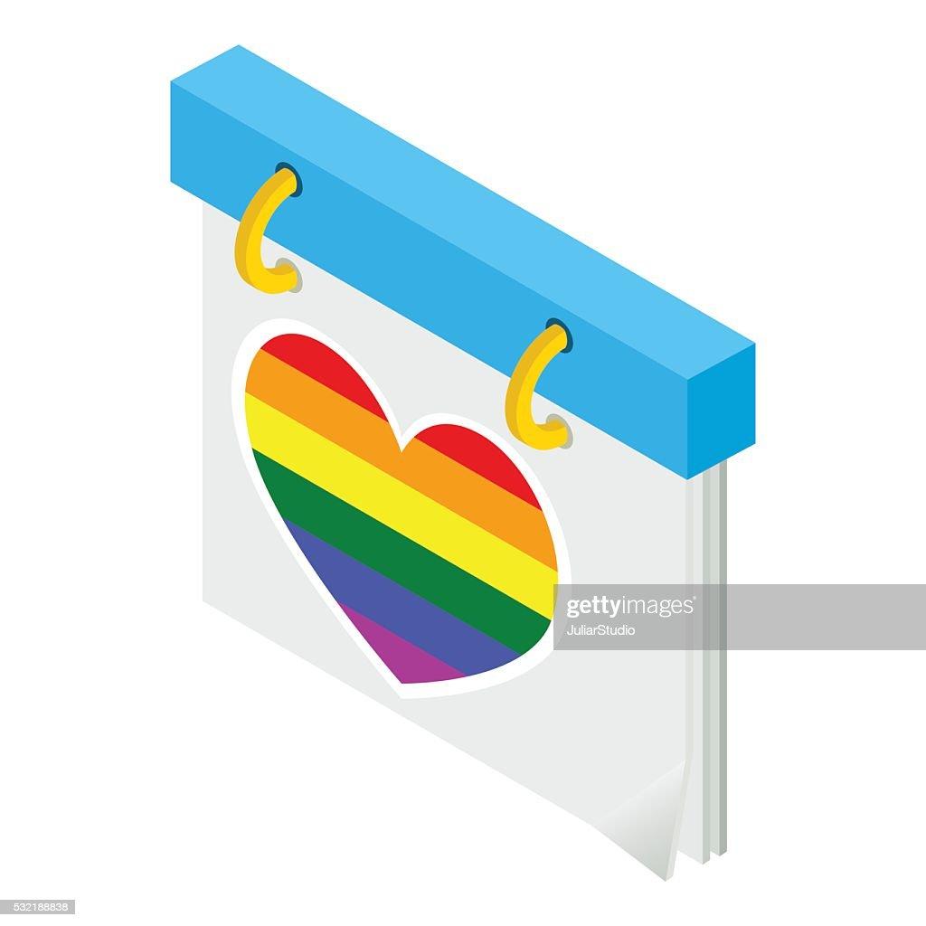 Calendar with rainbow heart isometric icon