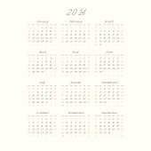 Calendar With Trendy Thin Font, 2014. Vector