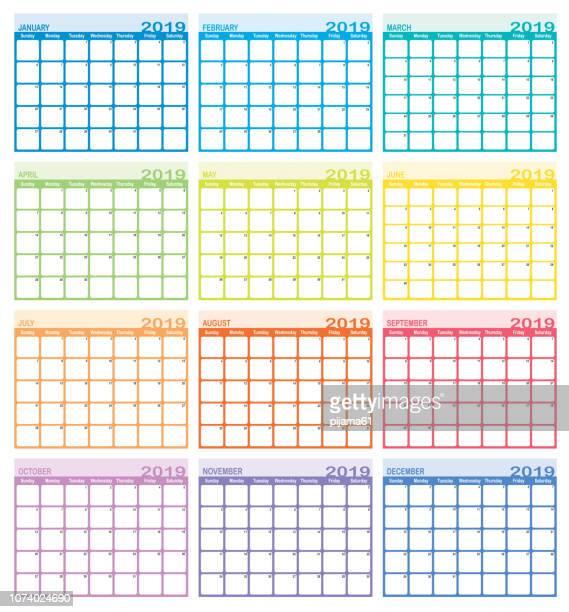 calendar year 2019 - 2019 stock illustrations
