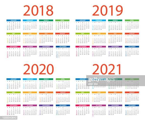 calendars 2018 2019 2020 2021 color - american international version. days start from sunday - 2019 2020 calendar stock illustrations