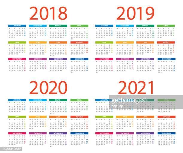 calendars 2018 2019 2020 2021 color - english european international version. days start from monday - 2020 stock illustrations