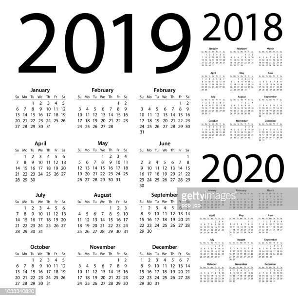 calendars 2019 2018 2020 simple - american international version. days start from sunday - grid stock illustrations, clip art, cartoons, & icons
