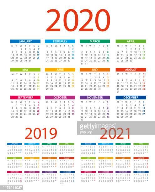 calendars 2020 2019 2021 color - american international version. days start from monday - 2019 2020 calendar stock illustrations