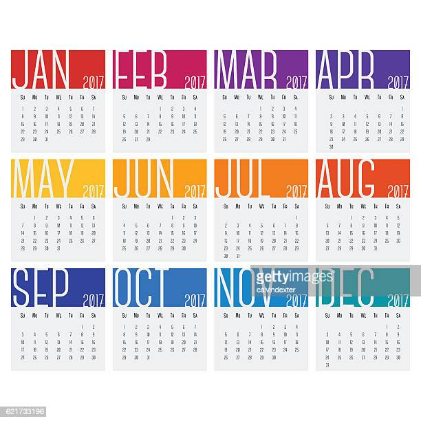 2017 calendars - monthly event stock illustrations