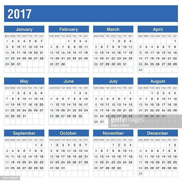 Calender 2017 In Blue Color - VECTOR