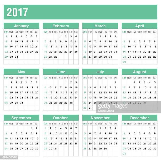 Calendário de 2017 na cor verde-VECTOR