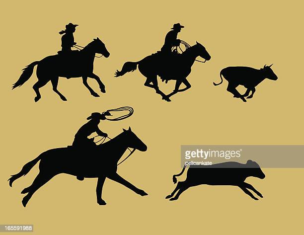 calf roping silhouettes - calf stock illustrations, clip art, cartoons, & icons