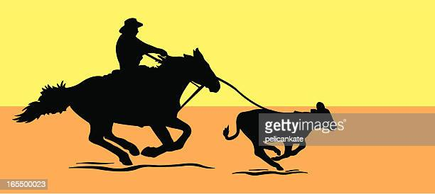 calf roping - calf stock illustrations, clip art, cartoons, & icons