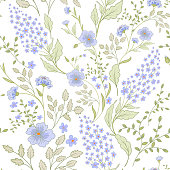 Calico delicate pink green colors pattern. Cute seamless cute small flowers for fabric design. Calico pattern in country stile. Trendy handpainted millefleurs