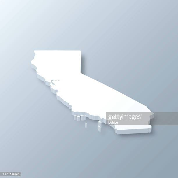 illustrations, cliparts, dessins animés et icônes de carte 3d de la californie sur le fond gris - california