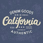 California Authentic T-shirt print retro design
