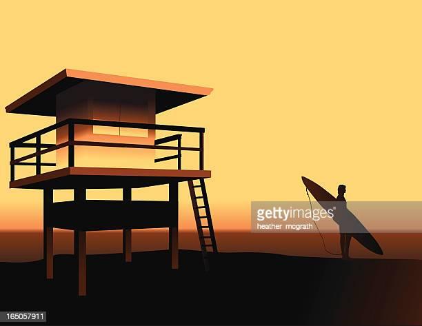 california beach - strandwächterhaus stock-grafiken, -clipart, -cartoons und -symbole