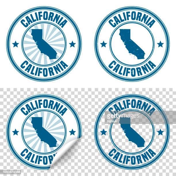 カリフォルニア - 青色のステッカー、スタンプの名前と地図 - カリフォルニア州点のイラスト素材/クリップアート素材/マンガ素材/アイコン素材