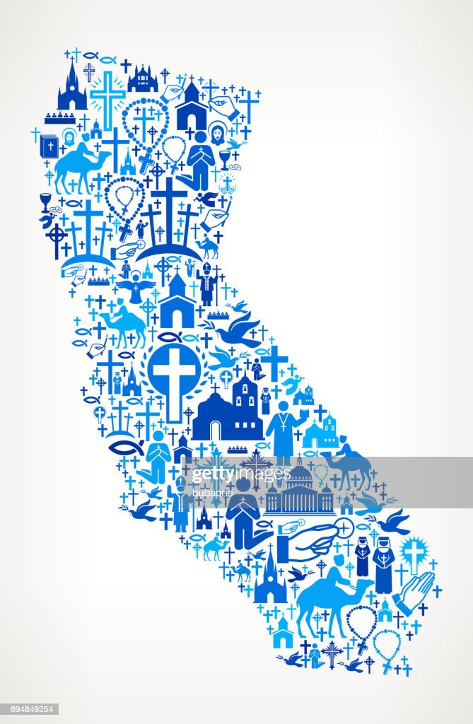 California Christianity and Religion Vector Icons Background