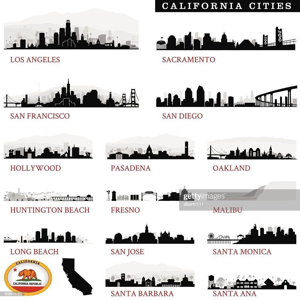California Cities Detailed : stock illustration